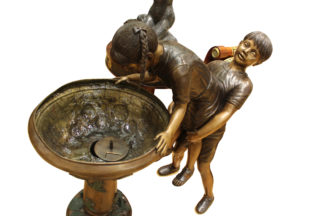 "Boy Girl Drinking From Fountain Bronze Statue -  Size: 44""L x 24""W x 42""H."