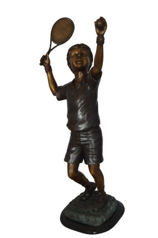 "Boy Playing Tennis Bronze Statue -  Size: 12""L x 8""W x 25""H."