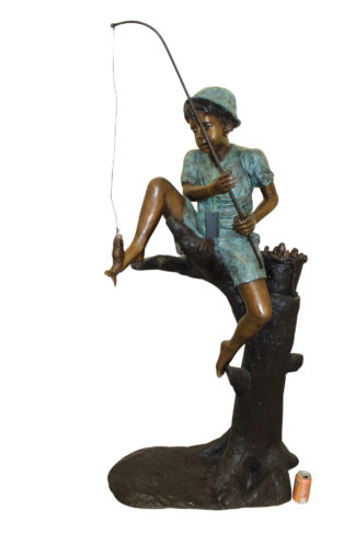 "Boy Sitting on a Tree and Fishing Bronze Statue -  Size: 36""L x 21""W x 37""H."