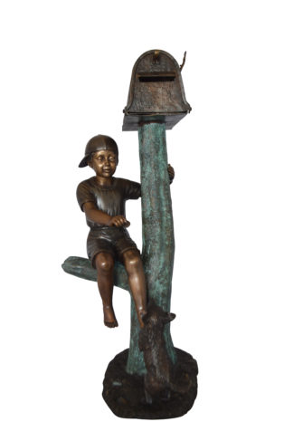 "Boy Sitting on a Tree with Mailbox Bronze Statue -  Size: 22""L x 23""W x 49""H."