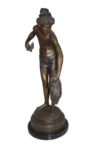 "Boy holding a Dog and a Bird Bronze Statue -  Size: 15""L x 15""W x 36""H."