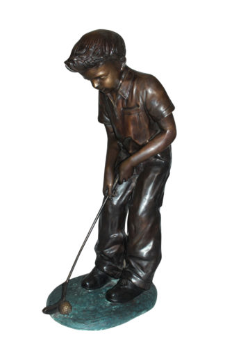 "Boy plays golf Bronze Statue -  Size: 14""L x 18""W x 37""H."