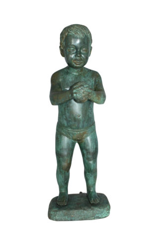 "Boy with Sponge Bronze Statue -  Size: 8""L x 9""W x 22""H."