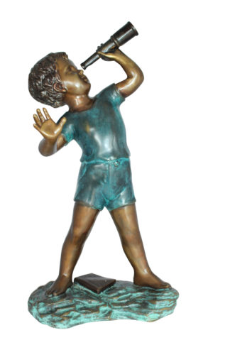 "Boy with telescope Bronze Statue -  Size: 14""L x 10""W x 28""H."