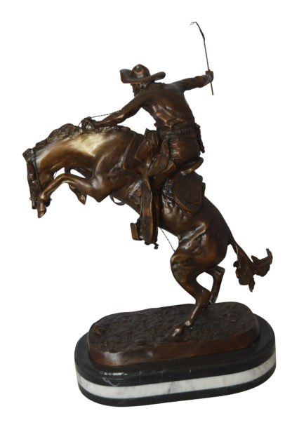 "Bronco Buster by Remington Bronze Statue on a triple marble -  21""x 10""x 26""H."