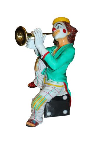 "Colorful Clown Playing Instrument Bronze Statue -  Size: 18""L x 13""W x 31""H."
