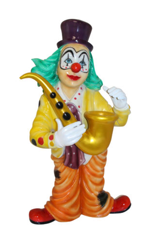 "Clown Standing with Saxophone Bronze Statue -  Size: 20""L x 15""W x 36""H."