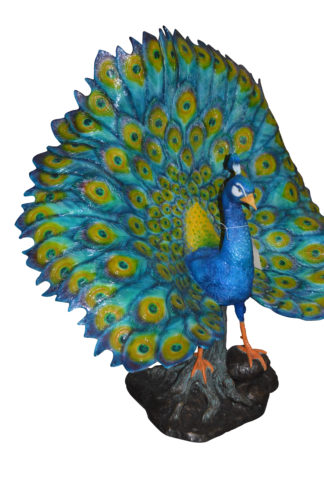 "Colorful Peacock Bronze Statue -  Size: 24""L x 39""W x 35""H."