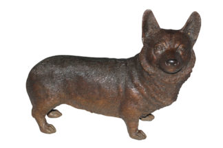 "Corgi dog standing Bronze Statue -  Size: 20""L x 8""W x 15""H."