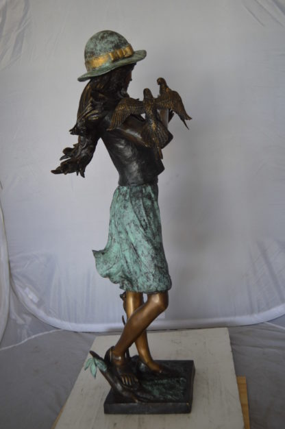 """Standing girl with parrots Bronze Statue -  Size: 15""""L x 16""""W x 41""""H."""