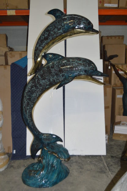 "Two Dolphins Overreach Others on Waves Bronze Statue -  44""L x 23""W x 76""H."