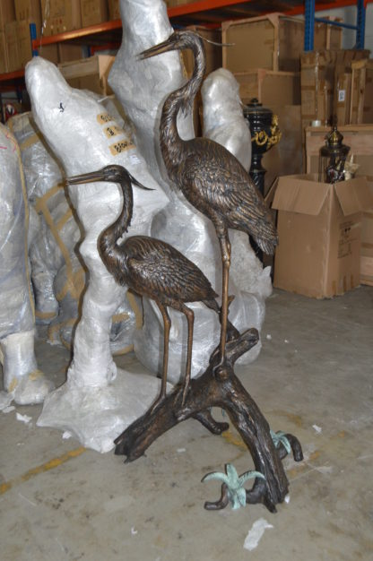 "Two Herons on a three Bronze Fountain Statue -  Size: 32""L x 24""W x 67""H."
