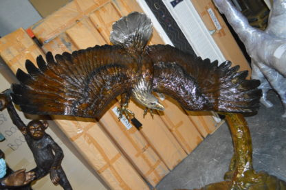 """Eagle Flying To The Right Bronze Statue  -  Size: 22""""L x 63""""W x 67""""H."""