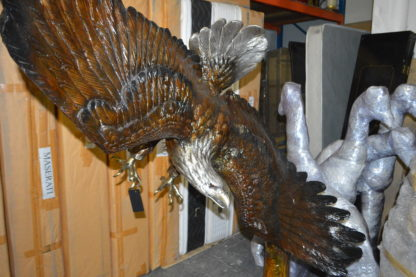 "Eagle Flying To The Right Bronze Statue  -  Size: 22""L x 63""W x 67""H."