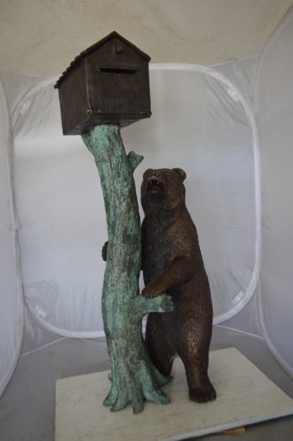 "Bear beside a Tree with Mailbox Bronze Statue -  Size: 19""L x 20""W x 50""H."