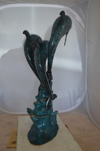 "Three Dolphin Fountain  Bronze Statue -  Size: 21""L x 26""W x 45""H."