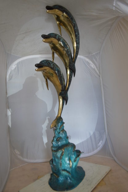 """Three Dolphins Overreach Each Other Fountain  Bronze Statue -  22""""x 15""""x 68""""H."""