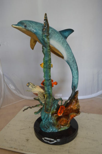 "Dolphin , Turtle And Fish Bronze Statue -  Size: 18""L x 16""W x 25""H."
