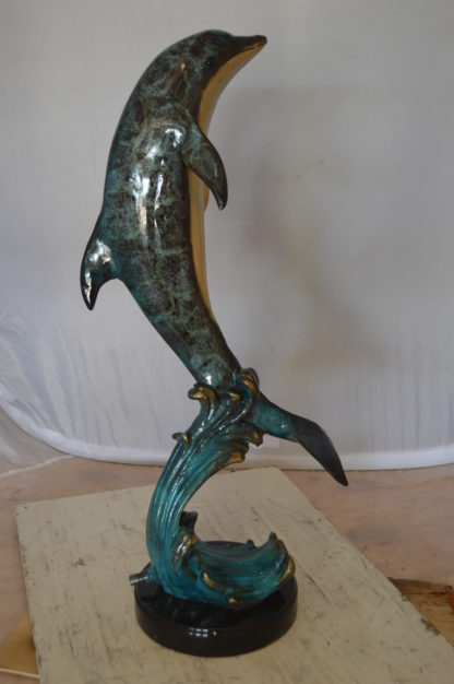 "Dolphin Fountain  On A Marble Base Bronze Statue -  Size: 12""L x 8""W x 30""H."