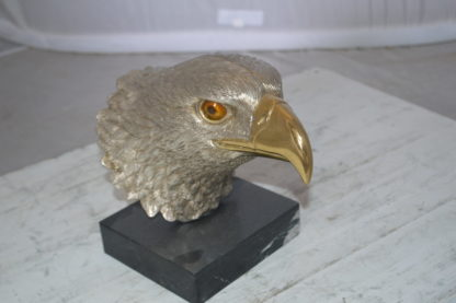 """Eagle head Silver Finish - Bronze Statue -  Size: 10""""L x 6""""W x 8.5""""H."""