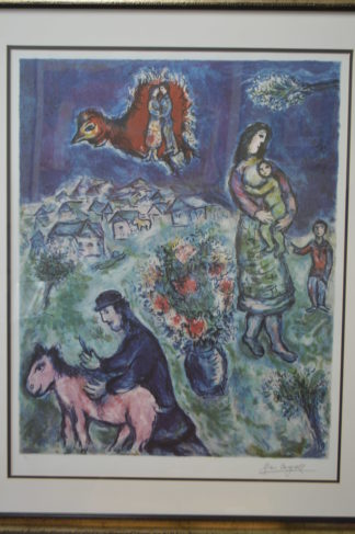 "Sur la Route du Village by Marc Chagall Limited Ed. Lithograph -  40""x 34""x 2"""