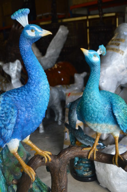 """Pair of Peacocks on a Tree Bronze Statue -  Size: 30""""L x 27""""W x 66""""H."""