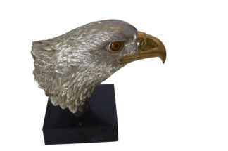 "Eagle head Silver Finish - Bronze Statue -  Size: 10""L x 6""W x 8.5""H."