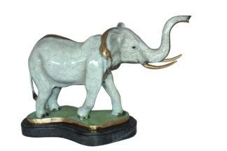 "Elephant Medium Bronze Statue -  Size: 26""L x 8""W x 17""H."