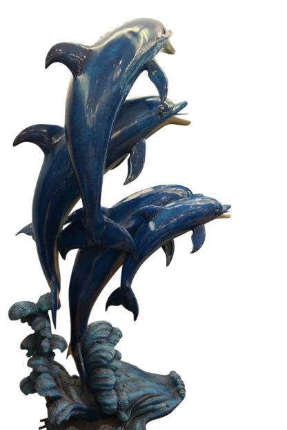"Five Dolphins On Wave Bronze Statue/Fountain  -  Size: 47""L x 27""W x 84""H."