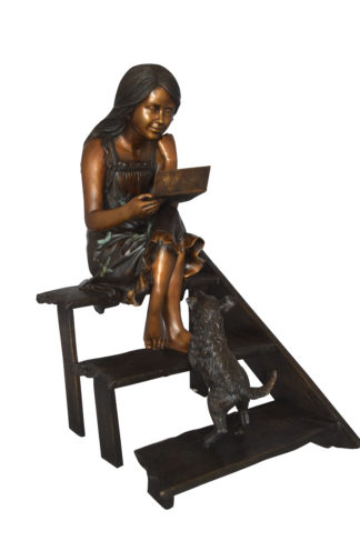 "Girl Reading Letters on the Stairs Bronze Statue -  Size: 32""L x 22""W x 40""H."