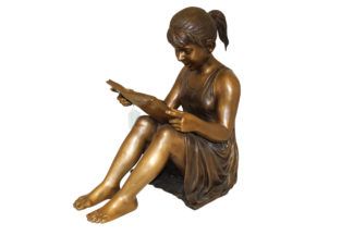 "Girl Sitting and Reading a Book Bronze Statue -  Size: 23""L x 15""W x 24""H."