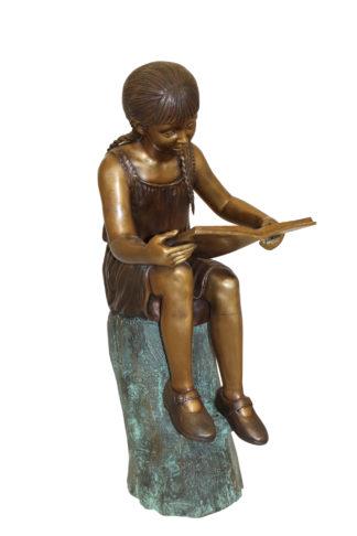 "Girl Sitting on a Tree Stump Reading a Book Bronze Statue -  15""L x 17""W x 38""H"