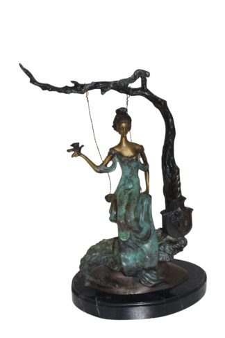 "Girl on a swing Bronze Statue -  Size: 15""L x 8""W x 21""H."