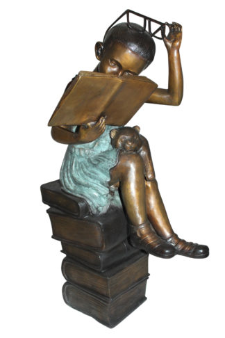 """Girl sitting on a stack of books reading a book Bronze Statue -  17""""x 18""""x 36""""H"""