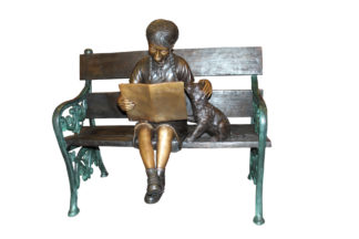 "Girl sitting with her dog  on a bench,  reading Bronze Statue - 27"" x 39"" x 32""H"