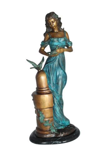"""Girl with a Bird Bronze Statue -  Size: 7""""L x 7""""W x 18""""H."""