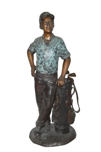 "Golfer with bag Bronze Statue -  Size: 12""L x 13""W x 32""H."