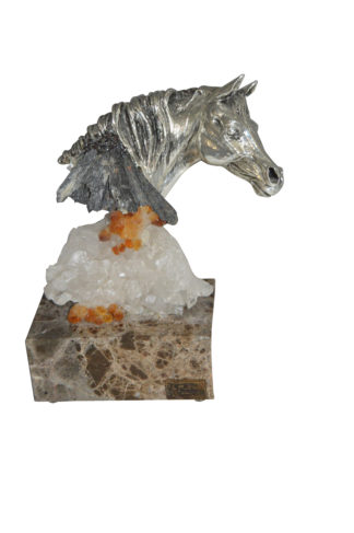 "Horse on Crystal Stone mounted on Marble by Vidal -  Size: 4""L x 9""W x 10""H."