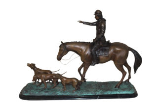 "Hunter with 3 dogs Bronze Statue -  Size: 26""L x 8""W x 19""H."