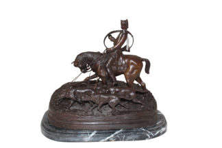 "Hunting man on horse Bronze Statue -  Size: 16""L x 8""W x 14""H."