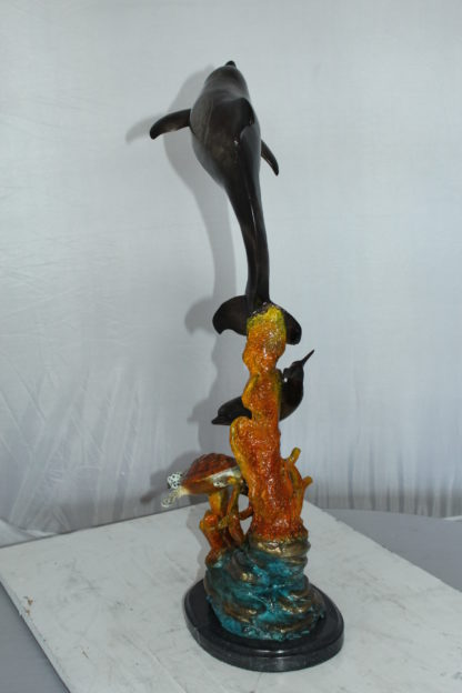 """Two Dolphins with Turtle bronze statue -  Size: 14""""L x 8""""W x 28""""H."""
