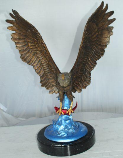 "Eagle Catching his Prey Bronze Statue -  Size: 17""L x 20""W x 25""H."