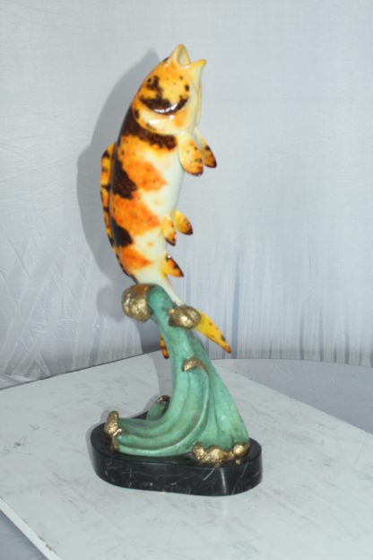 "Coy Fish Jumping off the Water Bronze Statue -  Size: 10""L x 9""W x 22""H."