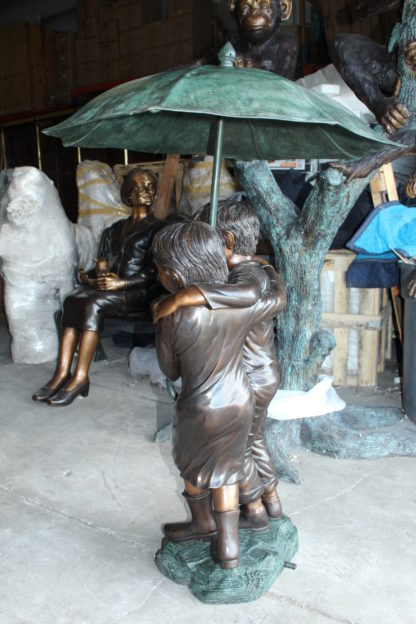"Two Kids Holding an Umbrella - Bronze Statue - Fountain -  90""L x 34""W x 90""H."
