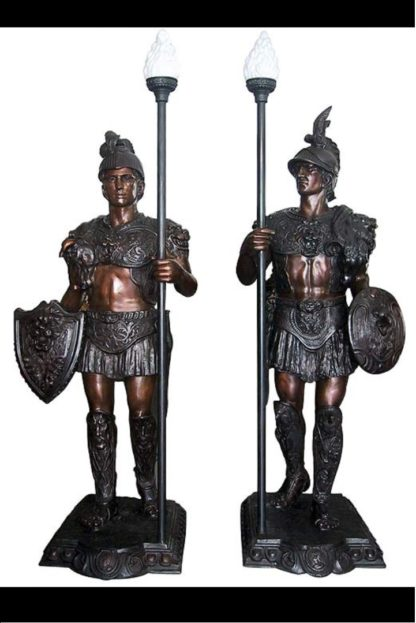 "Pair of Roman Warrior lamps Bronze Statues -  Size: 33""L x 24""W x 96""H."