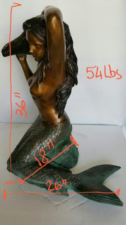 "Mermaid Holding a Shell Bronze statue/fountain -  Size: 26""L x 18""W x 36""H."