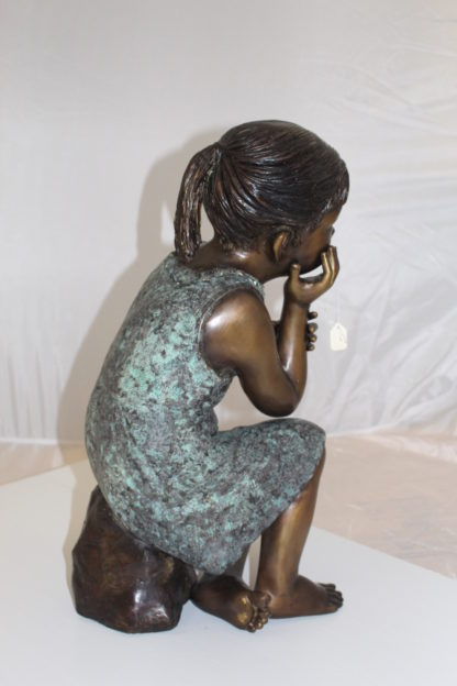 "Girl in the sun -Sunny day Bronze Statue -  Size: 10""L x 11""W x 21""H."
