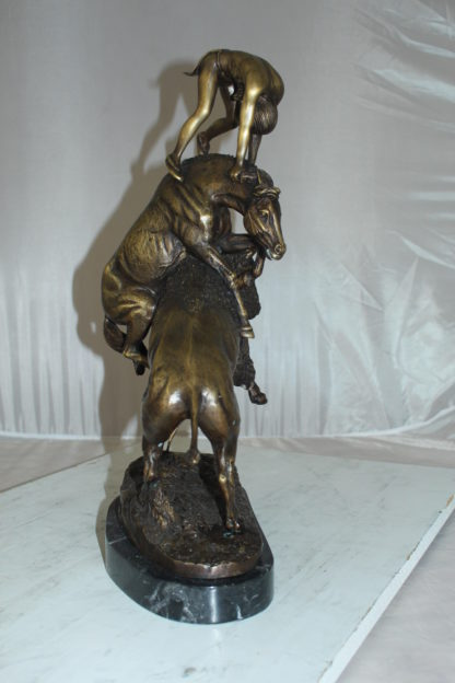 "Buffalo Horse by Remington Bronze Statue -  Size: 14""L x 6""W x 20""H."