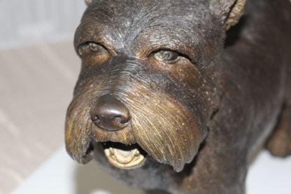 "Terrier dog Bronze Statue -  Size: 19""L x 5""W x 14""H."