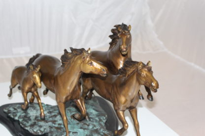 "Four horses running Bronze Statue -  Size: 20""L x 14""W x 12""H."